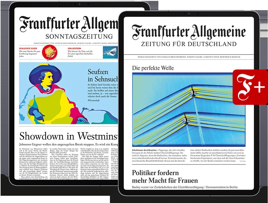 Frankfurter Allgemeine Zeitung und Sonntagszeitung inklusive F+ im Digitalpaket auf mobilen Geräten